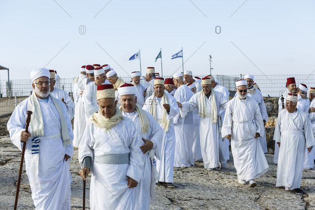 Nablus, Israel - October 4, 2017: Group of Samaritans pilgrimage to Mount Gerizim during the Sukkot holiday
