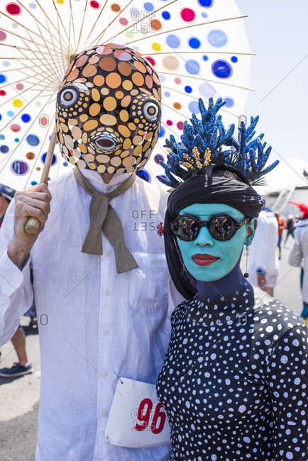 New York City, NY, USA - June 16, 2018: Sea life costumes worn at the Mermaid Parade, Coney Island, Brooklyn