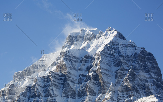 Snow-capped mountain summit in Banff National Park