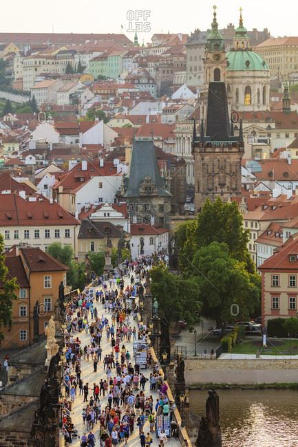 May 27, 2018: Charles Bridge, Prague, UNESCO World Heritage Site, Bohemia, Czech Republic, Europe