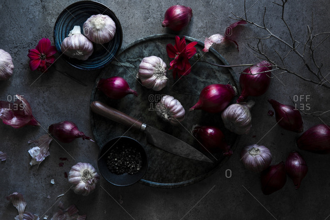 Beautiful still life of garlic and red onions photographed in a dark moody setting