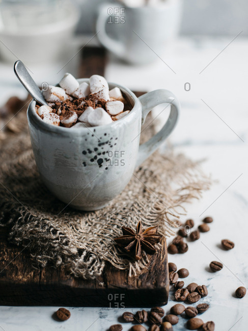 Mug of delicious hot cocoa with marshmallows