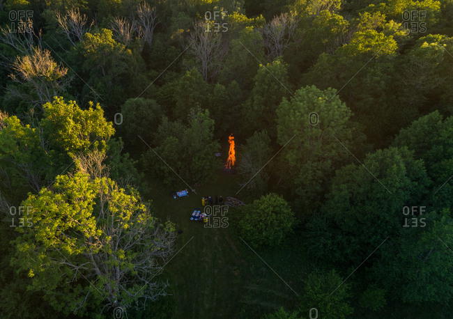 Aerial view of a fire pit on Forby on Vormsi island, Estonia.