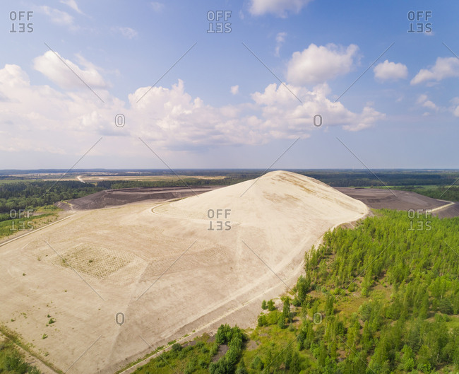Aerial view of sand mountain in Kivioli, Estonia.