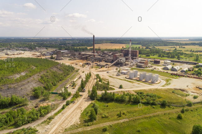 Aerial view of chemical factory outside of Kivioli, Estonia.