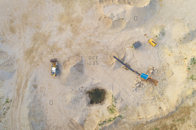 Aerial view of machines working in sand mining in Mustu, Estonia.