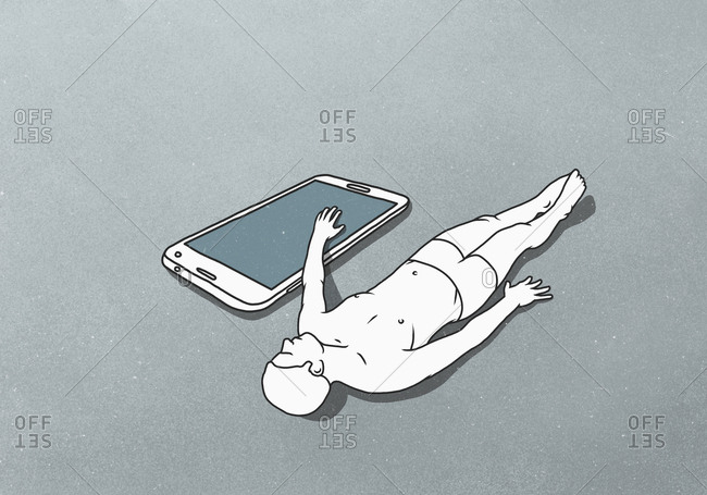 A male figure lying down with hand on a large mobile phone