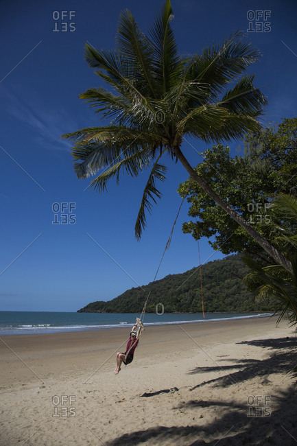 Carefree woman swinging on rope swing below palm tree on tropical beach, Port Douglas, Queensland