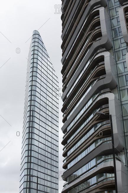 London, England - November 7, 2018: Exterior of modern apartment building