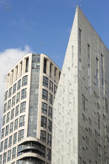 Tall modern buildings on City Road, London
