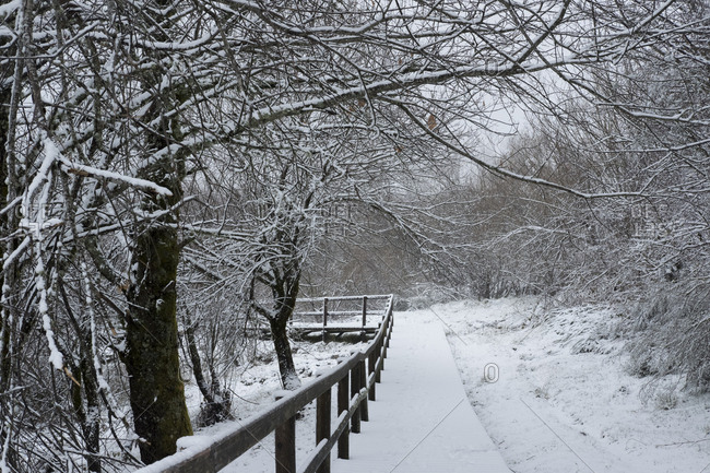 Snow covered path at Geres National Park