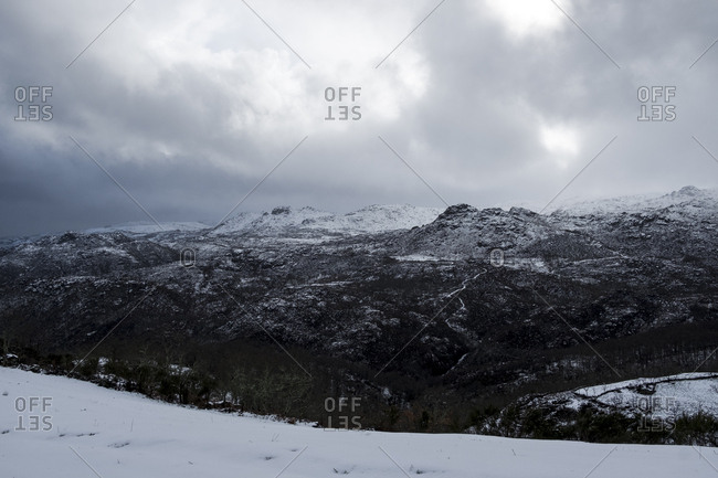 Geres National Park under snow as seen from Pitoes das Junias