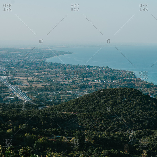 Aerial coastline view of Pieria region in Greece