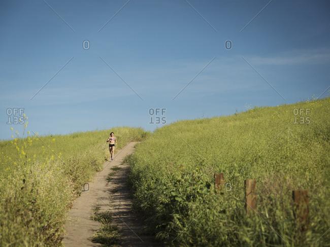 Woman jogging on path through field