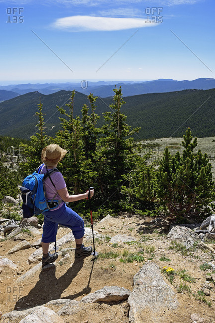 Woman looking at view in Mount Evans Recreational Area, Colorado