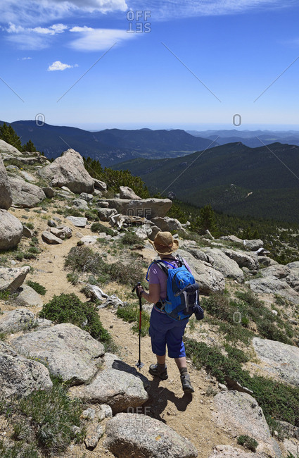 Woman hiking in Mount Evans Recreational Area, Colorado