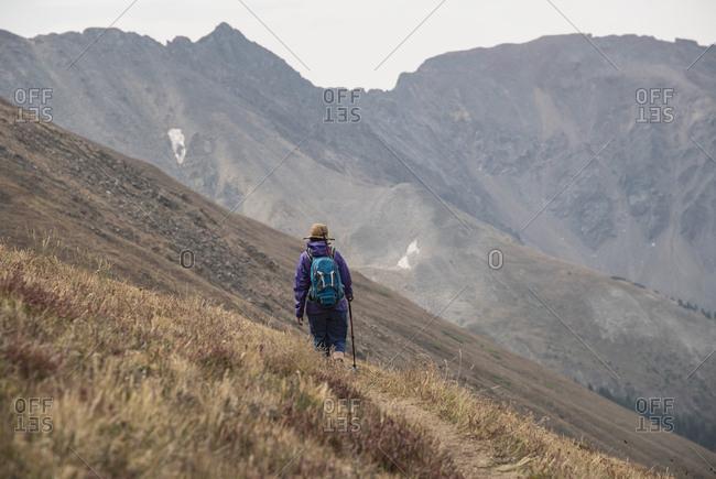 Woman hiking on Loveland Pass, Colorado