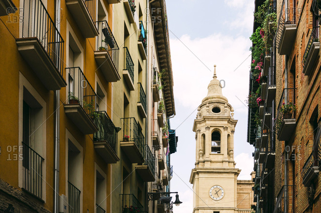 Bell tower and apartments in Bilbao, Spain