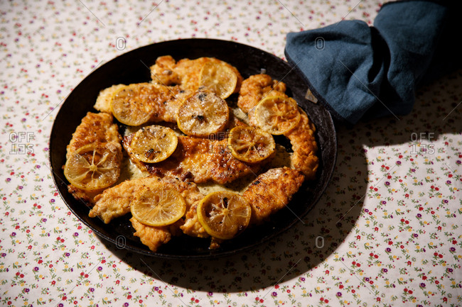 Roasted chicken francese with lemon
