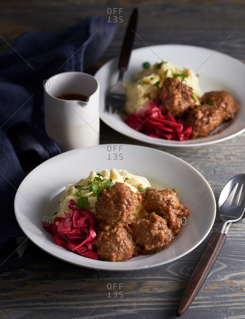 Swedish meatballs with mashed potato and pickled red cabbage