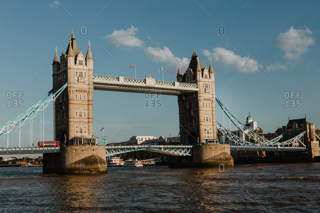 LONDON, UNITED KINGDOM - OCTOBER 23 , 2018: Magnificent view of famous Tower Bridge over River Thames on cloudy day in London, England