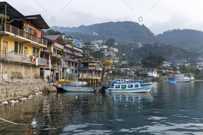May 11, 2017: Fishing boats in the San Pedro harbor in Guatemala