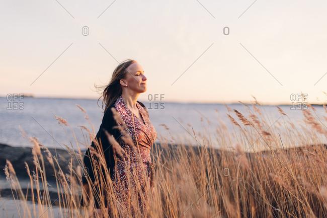 Woman at beach in Blekinge, Sweden