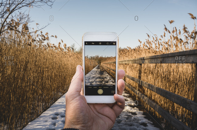 Man�s hand holding smart phone taking photograph of winter field