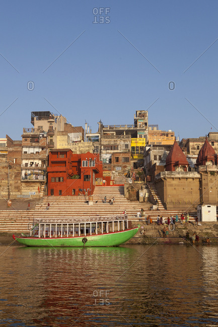 March 24, 2016: A boat on the Ganges River in Varanasi, India