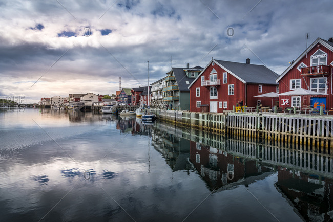 July 4, 2017: Harbor of Henningsvaer in Norway
