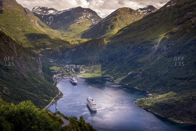 July 10, 2017: Cruise boats in Geiranger, Norway