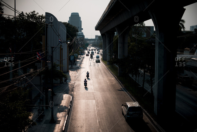 April 15, 2015: Overpass and city street in Bangkok, Thailand
