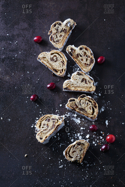 Sliced Christmas Stollen with icing sugar