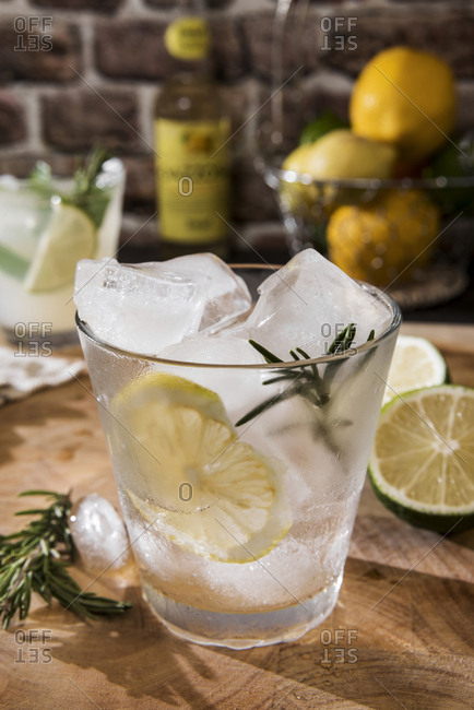 Glass of Gin Tonic with lemon- rosemary and ice