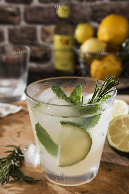 Glass of Gin Tonic with lime- mint- rosemary and ice