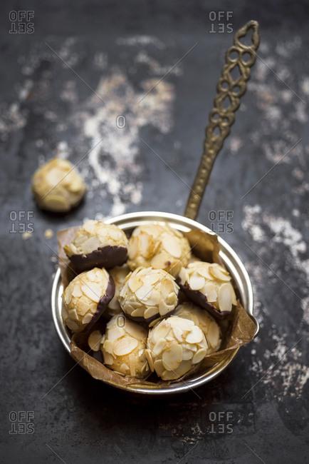 Vegan almond cookies in a  sauce pan