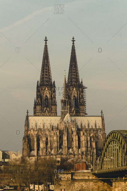 Germany- Cologne- view to Eastern side of Cologne Cathredal with Hohenzollern Bridge in the foreground