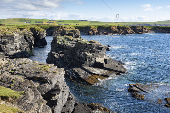 Great Britain- Scotland- Orkney Islands- Birsay- rocky cliffs on the north coast of Mainland