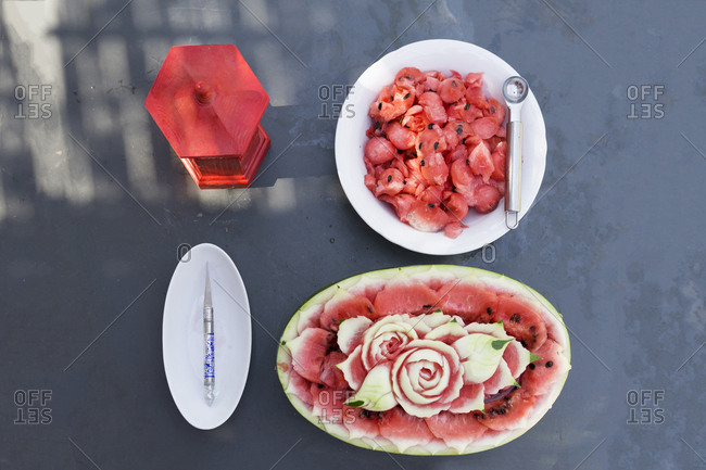 Decorated watermelon