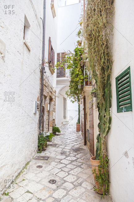Italy- Puglia- Polognano a Mare- narrow alley at historic old town