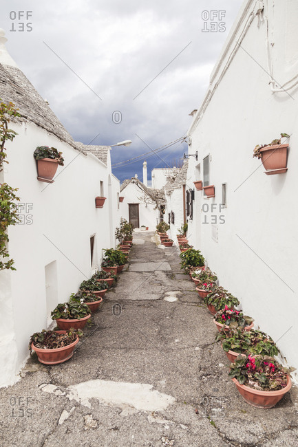 Italy- Apulia- Alberobello- view to alley with rows of flowerpots