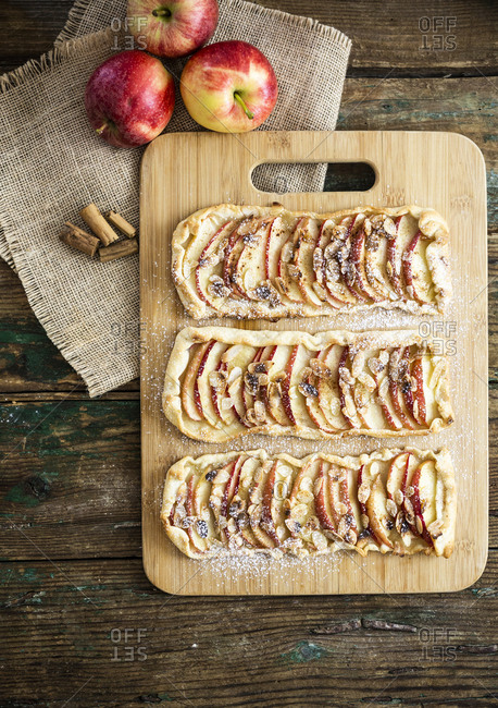 Home-baked Apple Pie on wooden board