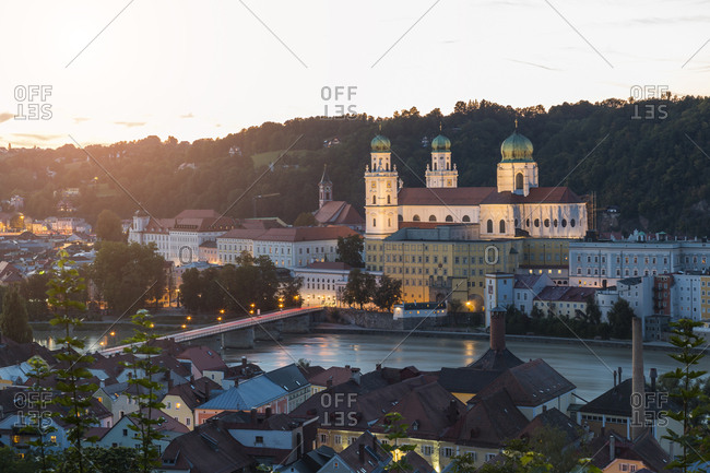 Germany- Bavaria- Passau- St. Stephen's Cathedral and Inn River in the evening