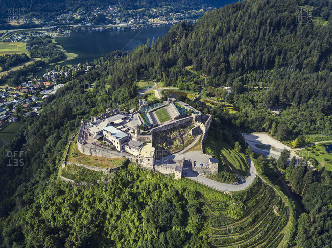 Austria- Carinthia- Ossiach Tauern- Villach- Landskorn Castle over St. Andrae- Lake Ossiach
