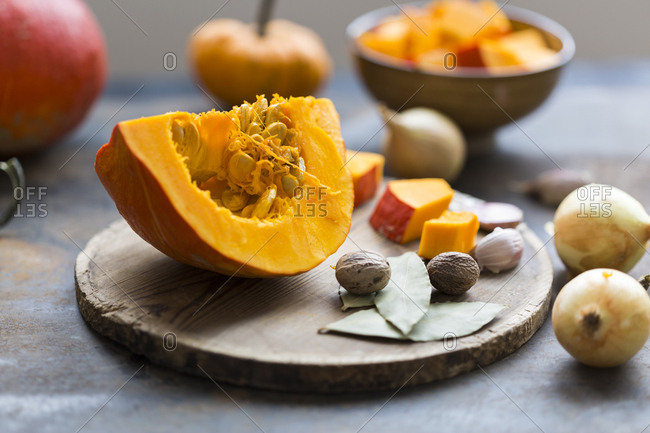 Ingredients of pumpkin soup