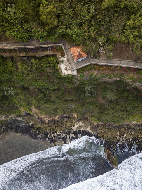 Indonesia- Bali- Aerial view of Uluwatu temple