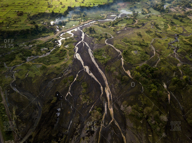 Indonesia- Bali- Aerial view of river