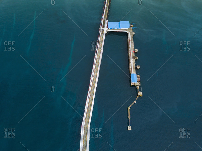Indonesia- Bali- Aerial view of mooring area for tanker-ships