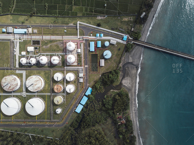 Indonesia- Bali- Aerial view of oil refinery