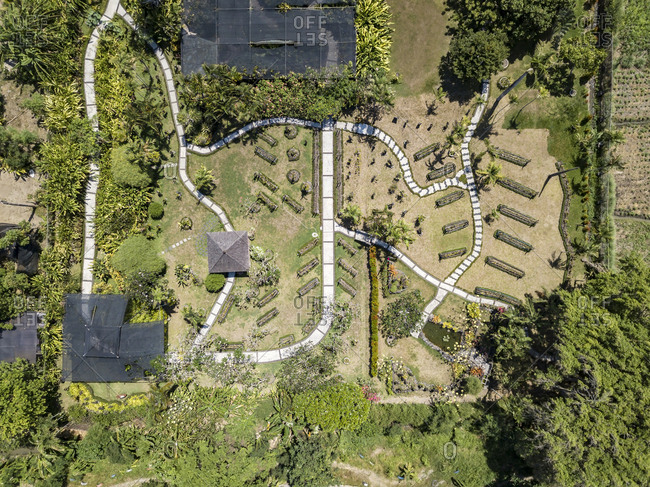 Indonesia- Bali- Aerial view of Sanur- gardens